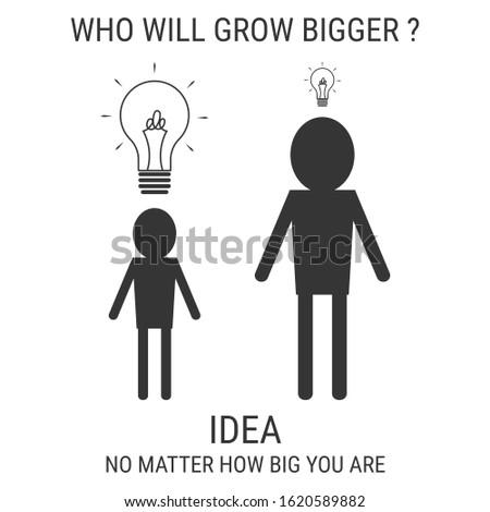 Small man think big. Think big idea concept. Thinking concept vector illustration. Men with light bulb of idea vector cartoon.