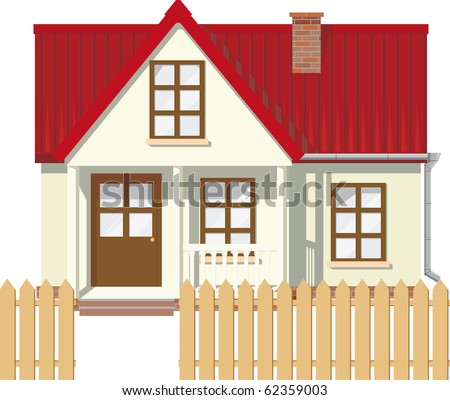 Small Mansion rural house with red roof surrounded by a fence