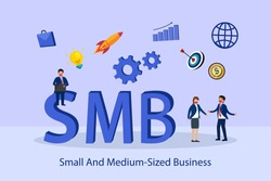 Small Medium sized business SMB 2D flat vector concept for banner, website, illustration, landing page, flyer, etc