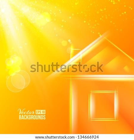 small orange glass house
