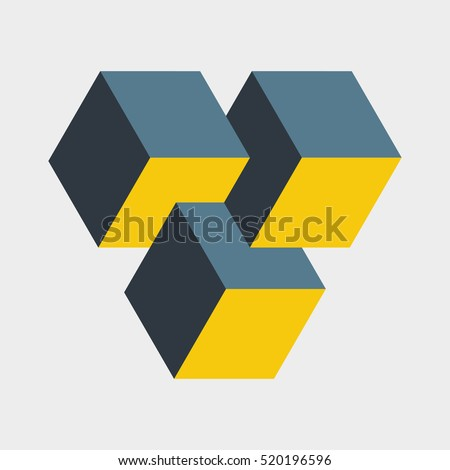 Small penrose triangle constructed of three blocks. Isometric cubes for 3d designing. Mathematical object with mental trick. Optical illusion of brain. Symbol with three-dimensional effect. Imp art.