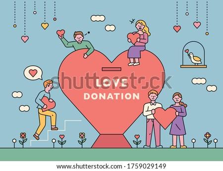 Small people are raising money around the huge heart piggy bank. flat design style minimal vector illustration.