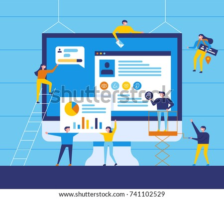 small people character decorated web business technology. vector concept illustration flat design