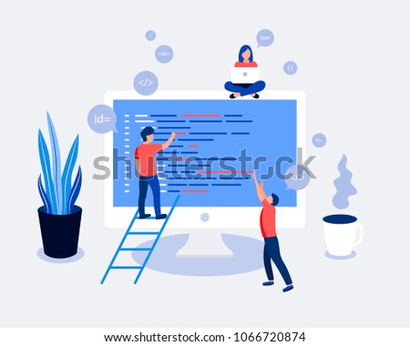 Small people programmers coding and correct errors in project. Laptop screen with program code. Trendy flat style. Vector illustration.