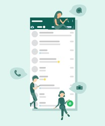 Small people sit and stand on social media interface, send messages, take pictures, to call. Flat vector illustration. Social network interface frame with flat icons.