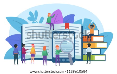Small people stand near big books. Education, online reading, e-reader. Poster, card for presentation, web page, banner or social media. Flat design vector illustration