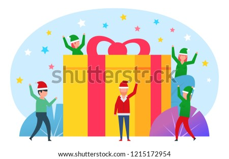 small people stand near big gift box present new year christmas celebration