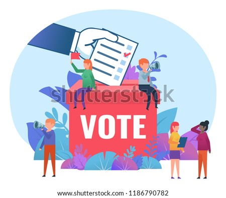 Small people standing near big voting box. Vote, election campaign, agitate. Business poster for presentation, social media, banner, web page. Flat design vector illustration