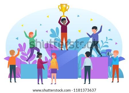 Small people standing on pedestal celebrating victory. Man holding golden cup, winner, celebration. Business poster for presentation, social media, banner, web page. Flat design vector illustration