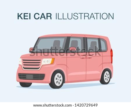 Small pink japanese kei car. Flat vector illustration. Stockfoto ©