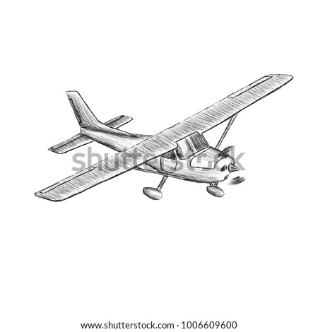 Small plane sketch vector illustration. Hand drawn single engine propelled aircraft. Air tours wehicle
