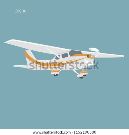 Small plane vector illustration icon. Single engine propelled aircraft. Air tours wehicle