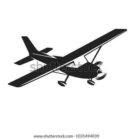 Small plane vector illustration. Single engine propelled aircraft.