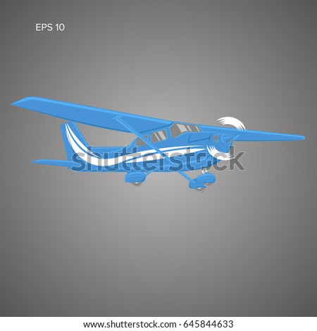 Small plane vector illustration. Single engine propelled aircraft. Vector illustration.
