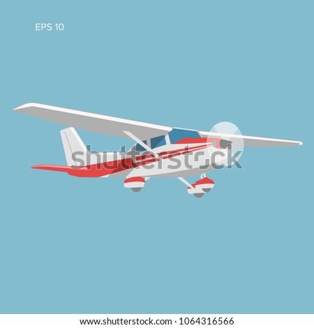 Small plane vector illustration. Single engine propelled aircraft. Vector illustration. Icon