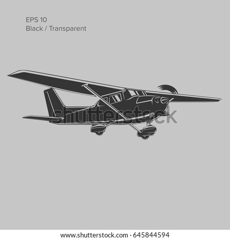 Small plane vector illustration. Single engine propelled aircraft. Vector illustration. Icon
