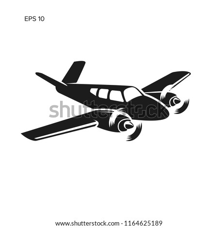Small plane vector illustration. Twin engine propelled aircraft. Vintage business trip aircraft.