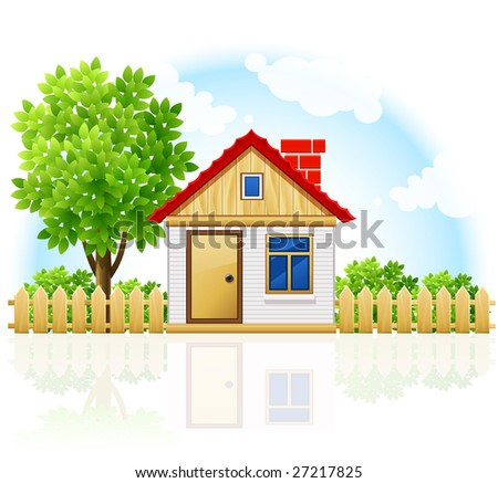small private house with wooden drawning and tree - vector illustration