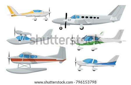 Small propeller airplanes. Private turbo propeller aircraft, passenger plane, hydroplane, speedy sport aeroplane, flying boat. Side view screw aircraft isolated on white background vector illustration