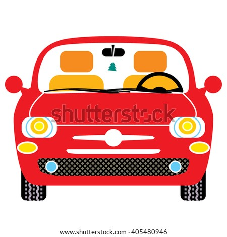 small red new woman car vector