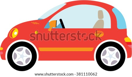 Small red woman Car illustration. vector