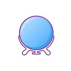 Small round make-up mirror. Simple cosmetic product in gradient color style. Symbol, isolated on white background. Double sided makeup looking glass. Personal care. Trendy flat vector illustration