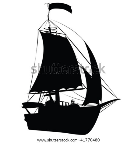 Small sailing ship silhouette isolated on white background, perspective draw design