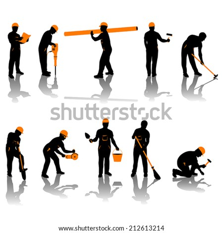 small set of different types of builders. all silhouettes in black and orange color