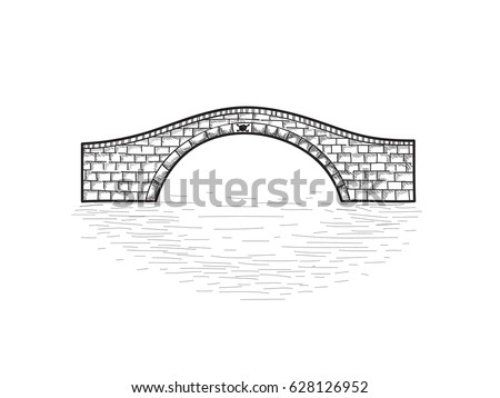 Small stone bridge isolated. Engraving retro illustration. Doodle line art