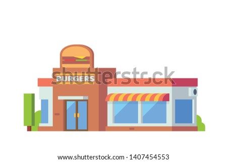 Small stores and shops building Flat design concept illustration. - Vector