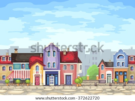 Small town street with coffee shop.Vector illustration of stylized colorfull city landscape.Old town .