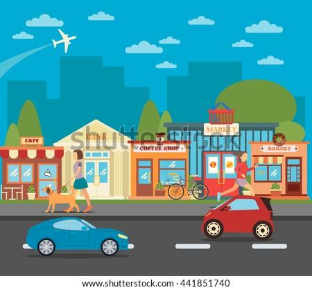 small town urban cityscape