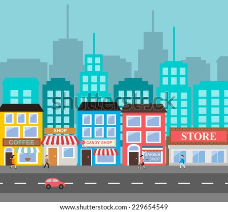 Small town urban landscape in flat design style, vector illustration. Includes small business, buildings, street with walking people, supermarket,  coffee shop, roads, car, skyscrapers  Сток-фото ©