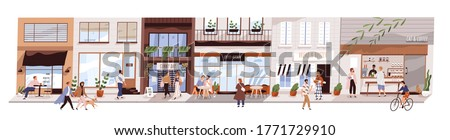 Small urban street with cafes and shops vector flat illustration. Happy man, woman and couples walking on modern city panorama. Buildings, coffeshop, store showcase with people isolated on white