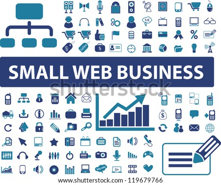 small web business signs, icons set, vector