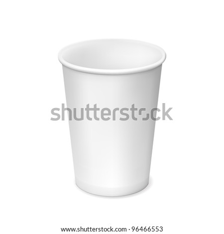 Small white paper cup isolated on white background