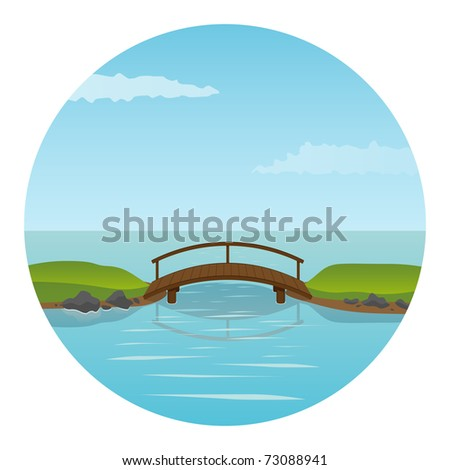 Small wooden bridge. Vector illustration.