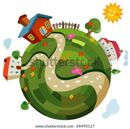 small world vector illustration