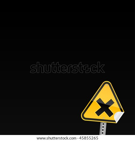 Small yellow road hazard warning sign with irritant symbol and with curved corner on black background