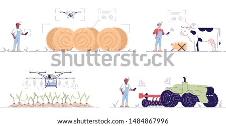 Smart agriculture flat vector illustrations set. Hi-tech autonomous farming cartoon concepts with outline. Agricultural drones, UAV. Precision ag digital technologies and innovations, IOT in farming