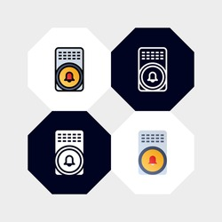 Smart Alarm Door Bell Icon Logo Vector Illustration. with four styles, outline, filled outline, flat and glyph. template for website and company