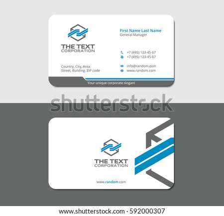 Vector business card blue download free vector art stock graphics smart and modern business card template for your organization gray background in mockup colourmoves