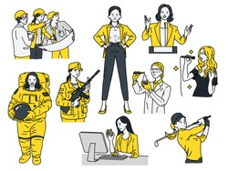 Smart and powerful women concept, various multi-ethnic characters of woman in occupations, businesswoman, engineer, astronaut,  scientist, golfer, singer, politician, soldier. Linear, thin line art.