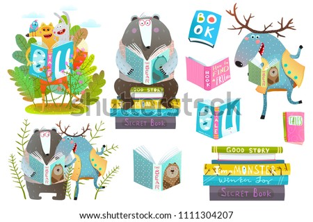 Smart Animals Reading Books Set. Cute forest animals friends with books studying. Vector illustration.