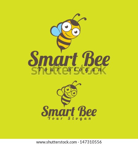 Smart Bee Icon Illustration Vector