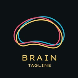 Smart brain outline logo vector design. Conscious logo concept, brainstorm, power thinking, mindfulness, consciousness logo icon.
