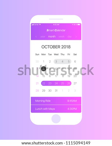 Smart Calendar iOS Android App Vector Concept October 2018 Page with To Do List and Tasks UI UX Design Mockup for Mobile Phone. Planner Application Template for Smartphone