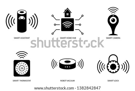 smart camera,smart lock,smart home,thermostat,icon,symbol and vector,Can be used for web, print and mobile