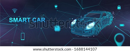 Smart Car, Hologram auto with polygonal elements and and icons with machine vehicle. Wireframe in line low-poly style. AI automobile. Electric machine. Autonomous car vehicle with infographic. Vector