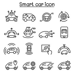 Smart car icons set in thin line style